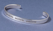 Imagine Believe Achieve Sterling Silver Cuff Bracelet by Far Fetched