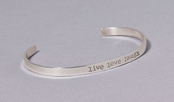 Live Love Laugh Slim Cuff Sterling Silver Bracelet by Far Fetched