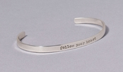 Follow Your Heart Slim Cuff Sterling Silver Bracelet by Far Fetched