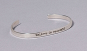 Believe In Yourself Slim Cuff Sterling Silver Bracelet by Far Fetched