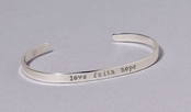 Love Faith Hope Slim Cuff Sterling Silver Bracelet by Far Fetched