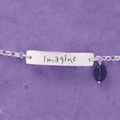 Imagine Sterling Silver Gemstone Drop Anklet by Far Fetched