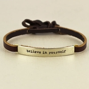 Believe in Yourself Leather Bracelet by Far Fetched