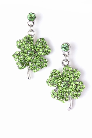 Crystal Shamrock Drop Earrings