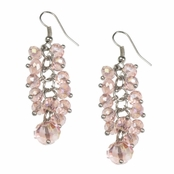 Alexia Crawford Pink Beaded Cluster Line Drop Earrings