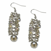 Alexia Crawford Topaz AB Beaded Cluster Line Drop Earrings