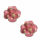 Alexia Crawford Pink Enameled Flower Earrings