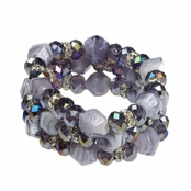 Alexia Crawford Purple Multi Bead and Crystal Bracelet