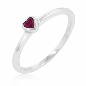 Ruby CZ Mini Heart Stackable Ring