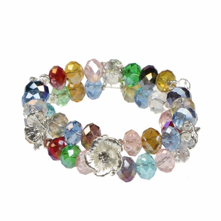 Alexia Crawford Rainbow Double Strand and Flowers Beaded Bracelet