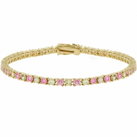 Pink and Peridot CZ Tennis Bracelet
