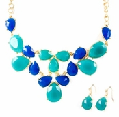 Multi Blue Faceted Teardrops Bib Necklace Set