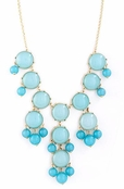 Turquoise Layered Bubble Bead Chandelier Necklace Set