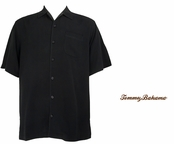 Black Catalina Twill Silk Camp Shirt by Tommy Bahama