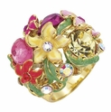 Spring Street Pink Multi Hot House Floral Ring