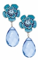 Spring Street Blue Flower and Drop Earrings