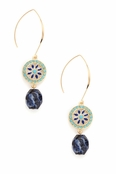 Multi Enameled Spiral and Gemstone Earrings by Spring Street
