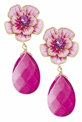 Spring Street Pink Flower and Drop Earrings