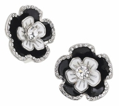 Spring Street Casablanca Layered Flower Button Earrings