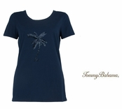Ocean Deep Bugle Bead Palm Tree Tee by Tommy Bahama