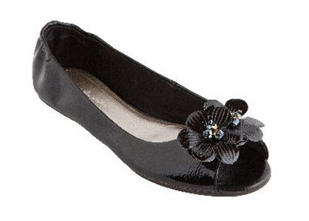 Lindsay Phillips Black Patent Peep Toe Flats