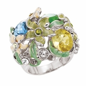 Spring Street Blue Multi Hot House Floral Ring