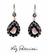 Swarovski Crystal Jet Framed Teardrop Earrings by Liz Palacios