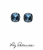 Swarovski Crystal Large Cushion Denim Blue Solitaire Earrings by Liz Palacios