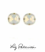 Swarovski Crystal Large Cushion White Opal Solitaire Earrings by Liz Palacios