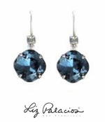 Swarovski Crystal Denim Blue Large Cushion Drop Leverback Earrings by Liz Palacios