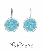 Swarovski Crystal Pacific Blue Opal Rock Crystal Leverback Earrings by Liz Palacios