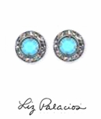 Swarovski Crystal Turquoise Crystal Framed Rondell Post Earrings by Liz Palacios