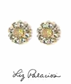 Swarovski Crystal Clear Sand Opal Flower Post Earrings