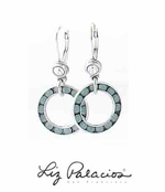 Swarovski Crystal Pacific Opal Circle Drop Leverback Earrings by Liz Palacios