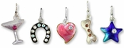 Sterling Silver Enameled Charms with Crystal