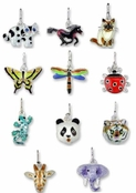 Sterling Silver Enameled Animals & Insects Charms