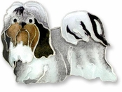 Shih Tzu Sterling Silver Enameled Pin