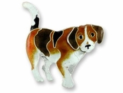 Beagle Sterling Silver Enameled Pin
