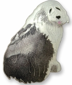 Old English Sheepdog Sterling Silver Enameled Pin