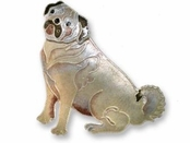 Pug Sterling Silver Enameled Pin