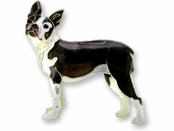 Boston Terrier Sterling Silver Enameled Pin