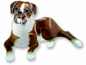 Boxer Sterling Silver Enameled Pin
