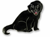 Labrador Retriever Sterling Silver Enameled Pin