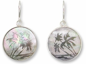 Palms Engraved Black Mother of Pearl Earrings by Zarah Co.