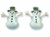 Christmas Snowman Sterling Silver Enameled Earrings