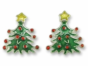 Holiday Tree Sterling Silver Enameled Earrings