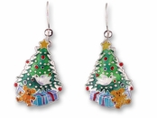 Christmas Morning Sterling Silver Enameled Earrings