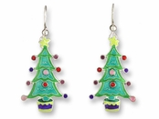 Christmas Tree Sterling Silver Enameled Earrings