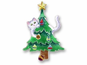 Kitty and Tree Sterling Silver Enameled Pin
