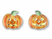 Pumpkin Sterling Silver Enamel Earrings by Zarah Co.